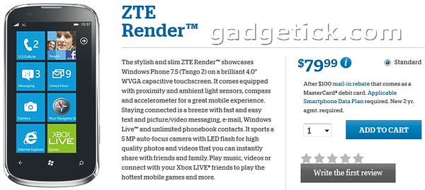ZTE Render на Windows Phone