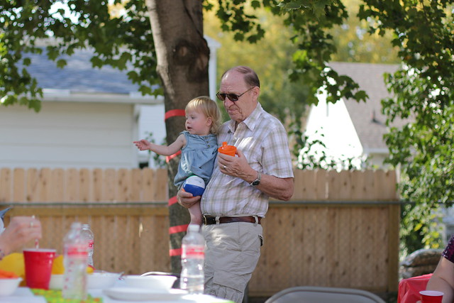 Lucy's Second Birthday Party - with Grandpa
