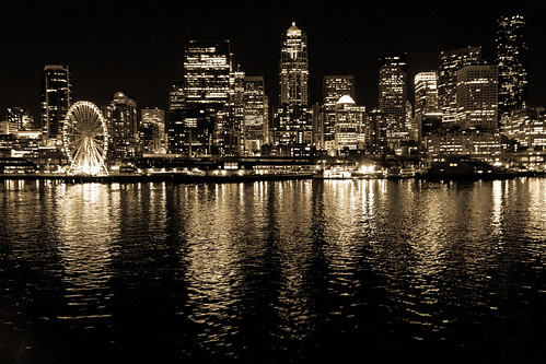 seattle blackandwhite bw water ferry night canon buildings reflections eos lights pier cityscape bright ferriswheel watefront cityline 60d tgam:photodesk=reflection2013