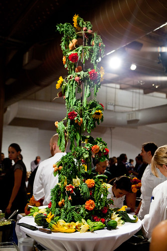 Centerpiece of vegetables and flowers