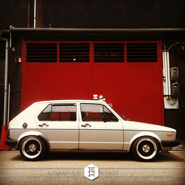 "volkswagen mk1 golf rabbit with klutch wheels sl1 15x8.5"" black with aggressive fitment stanced stance stretched tires"