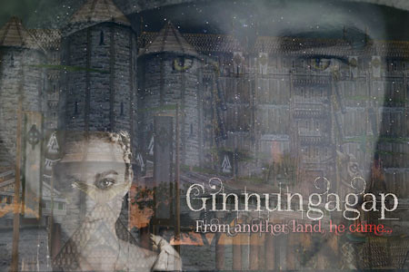 Ginnungagap Banner: the castle, the servant, the Queen, and the land.
