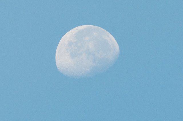 the moon in the blue sky