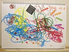 今日のお絵描き&シール遊びは勝間和代風です!勝間さんの顔写真を「せんせい」 と呼んでます (2012/10/8)