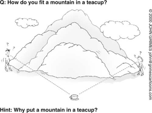 How do you fit a mountain in a teacup