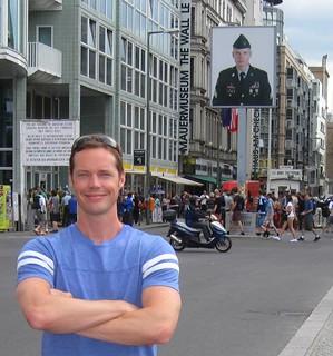 Josh at Checkpoint Charlie, Berlin 2012