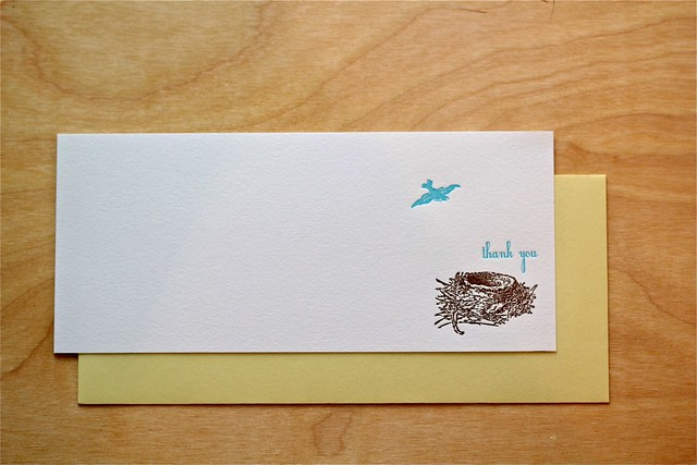 Letterpress Bird nest stationery