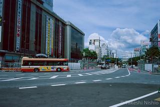 駅前から工事中の姫路城を望む, 姫路駅 / Watching Himeji castle repairing, Himeji sta.