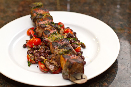 Beef and Sausage Skewers with Chimichurri