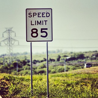 "Brand new #speed #limit #sign! #Fastest legal speed limit in the #USA! 85 MPH (137 KMH). Had to take a pic and share! Sing it Sammy... ""I can't drive 85!"" ;) // #Austin #Texas"