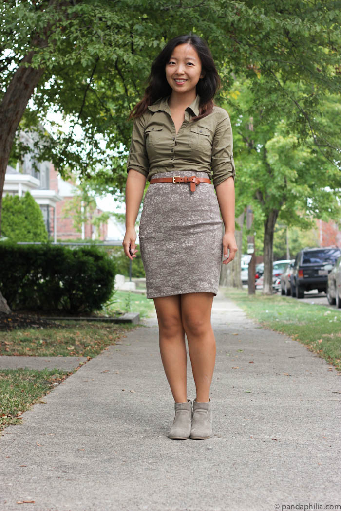 olive green and taupe work outfit