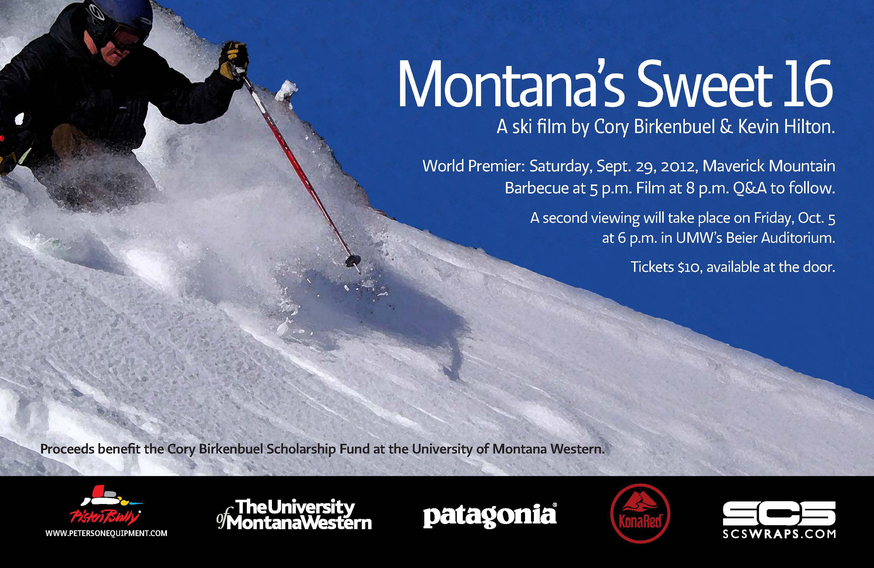Sweet Sixteen poster of a skier through powder snow