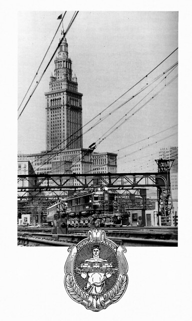 Builder's Photo, Cleveland Union Terminal Electrification and Cleveland Union Terminals Company logo