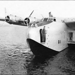 "Prototype Boeing 314 Flying Boat in Lake Washington, WA in 1938 -- prior to becoming the ""Honolulu Clipper"""