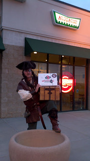Aye, Cap'n Greg with his booty of freshly pillaged Doughnuts...  Mmmm Doughnuts... Arrrrr  Thank Ye KrispyKreme Doughnuts!