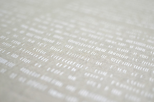 verses in alabaster on flax linen/cotton