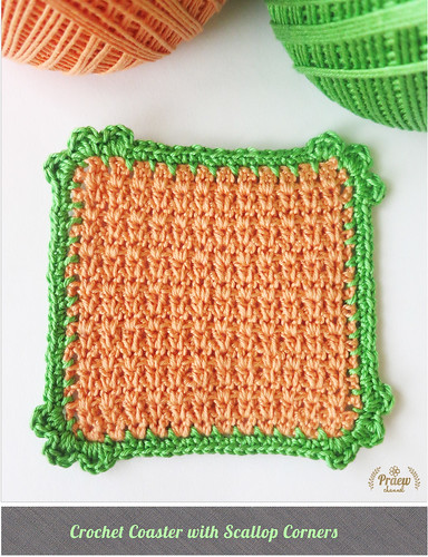 DIY Love: Crochet Coaster with Scallop Corners