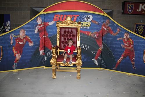 Olsen sitting on the throne