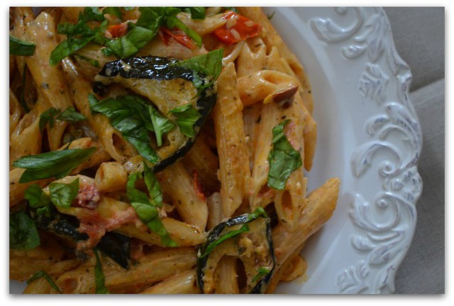 Creamy Penne Pasta with Roasted Vegetables