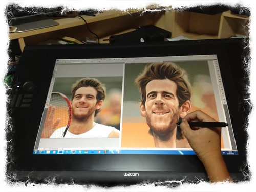 digital caricature of Juan Martín del Potro on Wacom Cintiq 24HD