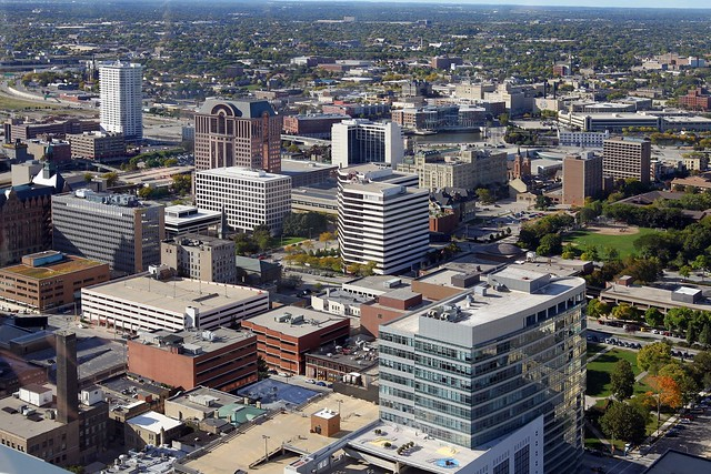 A view of portions of the north side of downtown Milwaukee