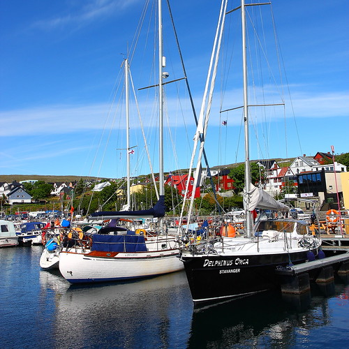 blue sea sky port landscape boats islands scenery view harbour faroe thorshavn faroese tórshavntorshavn