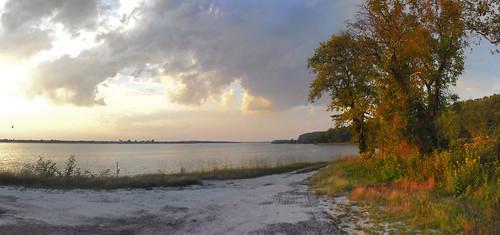 autumn sunset panorama beautiful river landscape virginia va rappahannock
