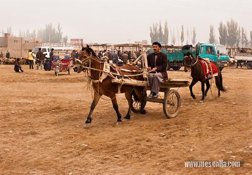 Uigur arribant al mercat en un carro