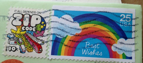 Best Wishes & Zip USA Vintage Stamps