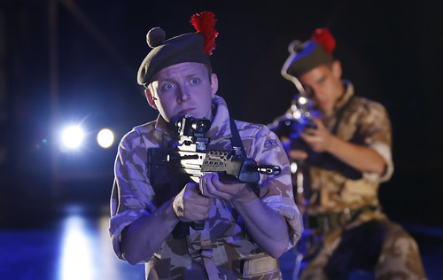 Ryan Fletcher in the National Theatre of Scotland's production of Black Watch, presented at the Shakespeare Theatre Company. Photo by Colin Mearns.