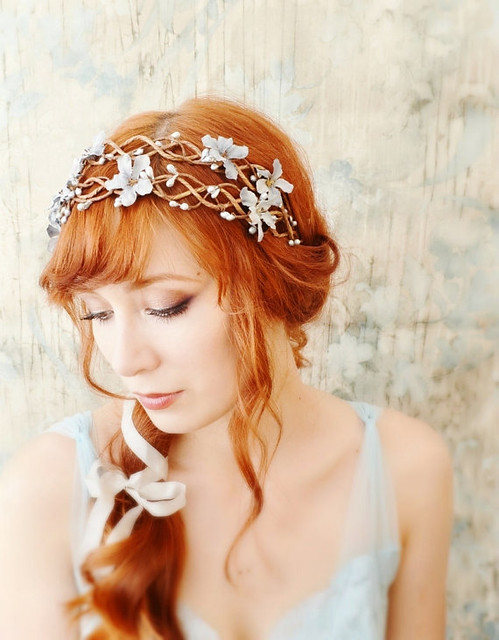 Head Piece With Silver Plated Decoration Dark Brown