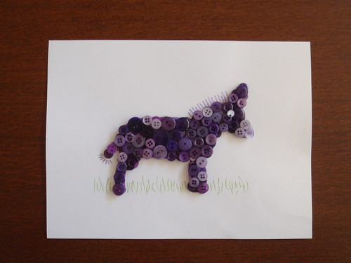 DONKEY BUTTON ART - Step 4 - Glue on eye and draw in mane, tail and grass