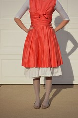 bridal party dress, textile, clothing, red, sleeve, cocktail dress, peach, woman, fashion, female, pink, dress,