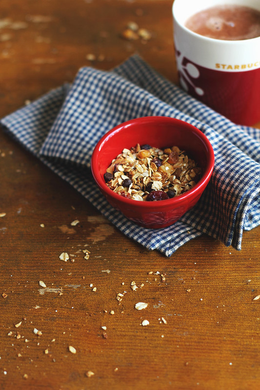 Granola and hot cocoa for breakfast