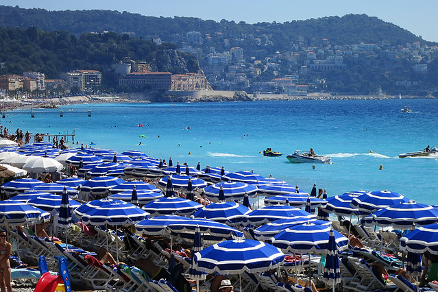 The beach umbrellas at Nice, on the French Riviera