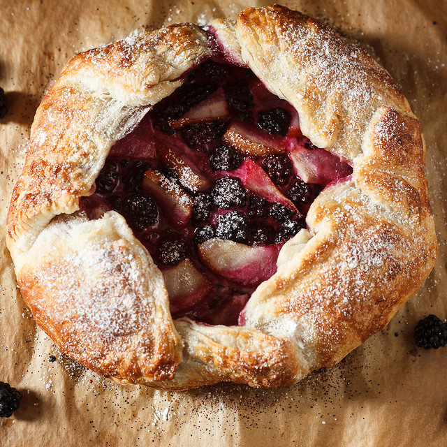 overhead view of a blackberry pear galette