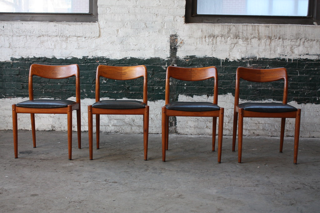 Graceful Danish Mid Century Modern Teak Dining Chairs 1960s a