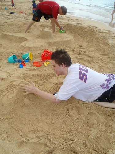 Mik destroying Sorcerer Hat Sand Castle