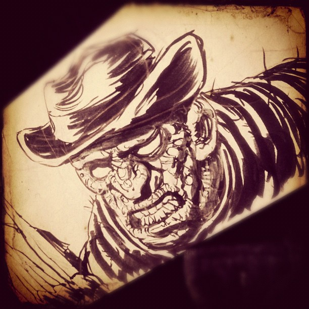 #inktober Day 6 Freddy on a magic envelope