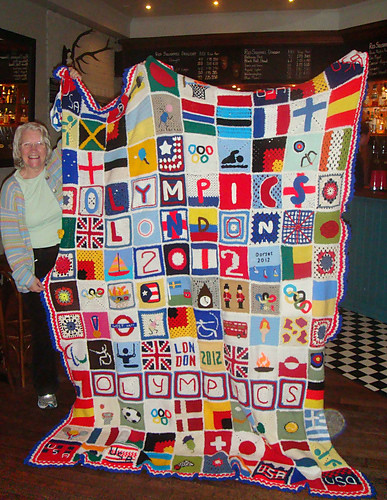 At Jennifer's Craft Group 'Granny Green's' in Edinburgh where she shows it off.