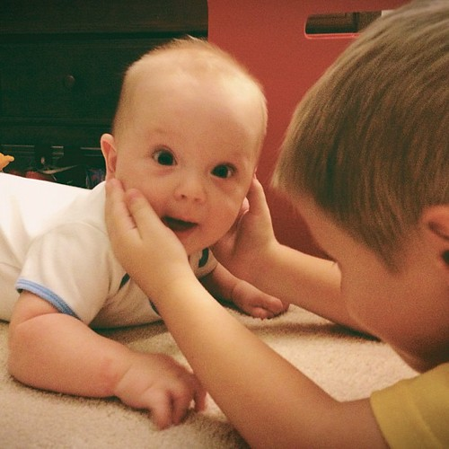 William seriously adores his big brother Zachary! #brothers #kids