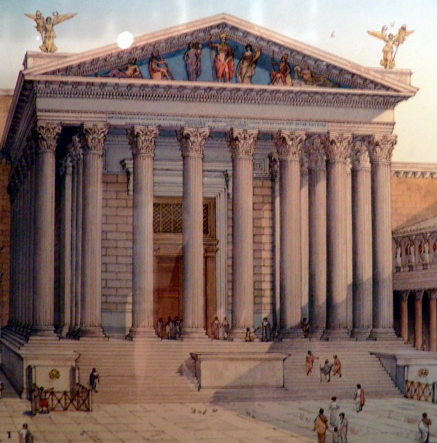Reconstructive view of the Temple of Mars Ultor, built around 20 BC, Museo dei Fori Imperiali, Rome