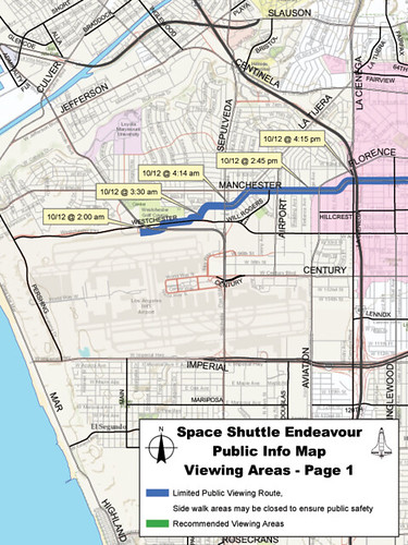Shuttle Endeavour's Route and Public Viewing Areas