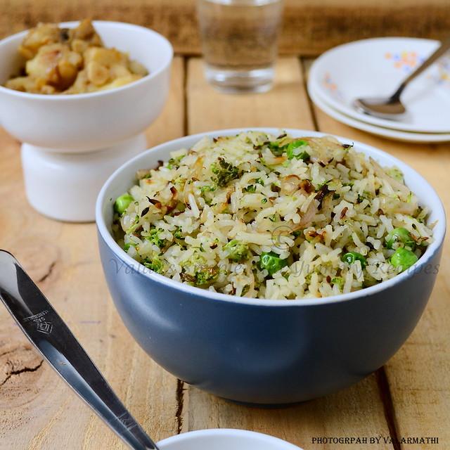 Broccoli and greenpeas Rice