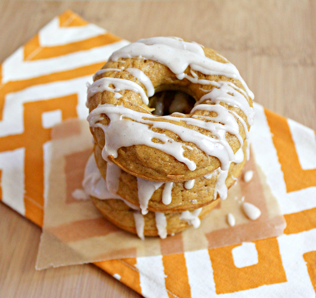 Baked Pumpkin Doughnuts with Maple-Cinnamon Glaze