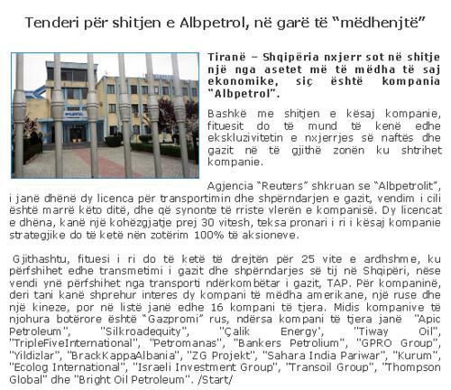 """Tenderi për shitjen e Albpetrol, në garë të """"mëdhenjtë"""""""
