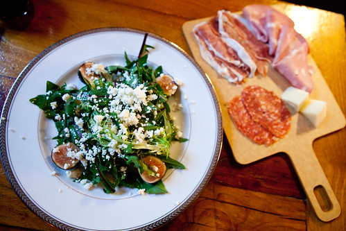 Mission fig salad and salumi tray