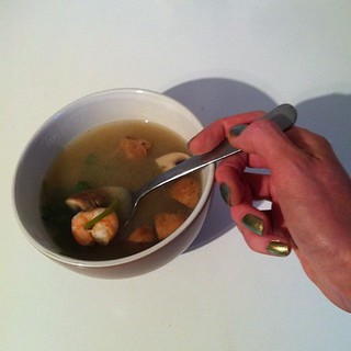 Tom yum soup complete with claw