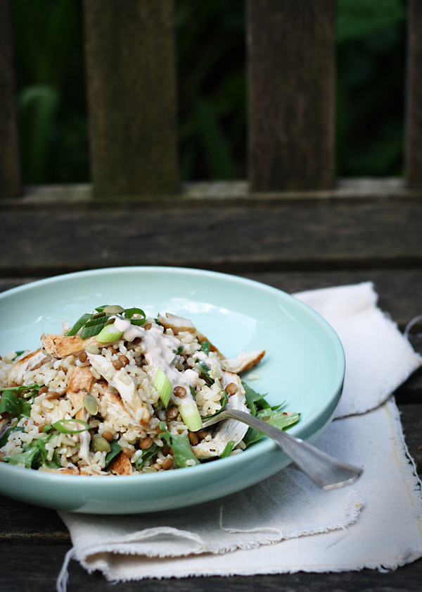 The Gluten Free Scallywag - Brown Rice  & Chicken Salad with Spicy Yoghurt Dressing