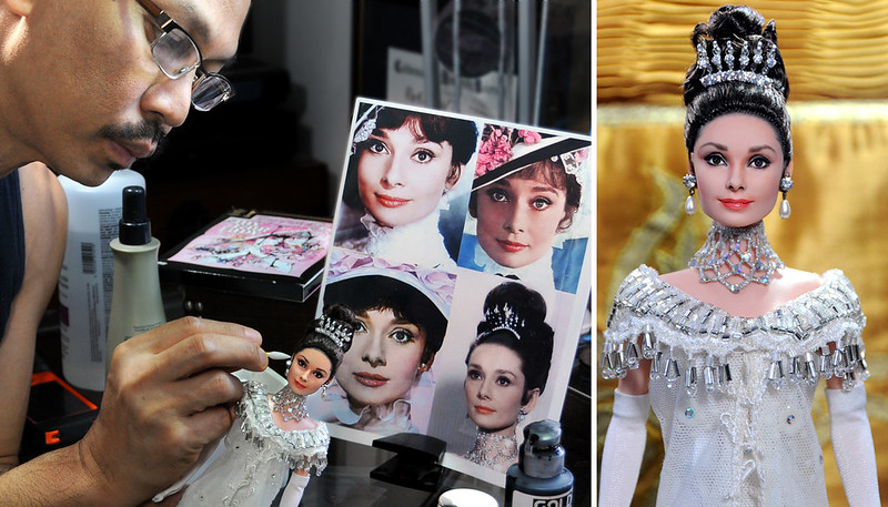 applying finishing touches to custom repaint of Audrey Hepburn My Fair Lady